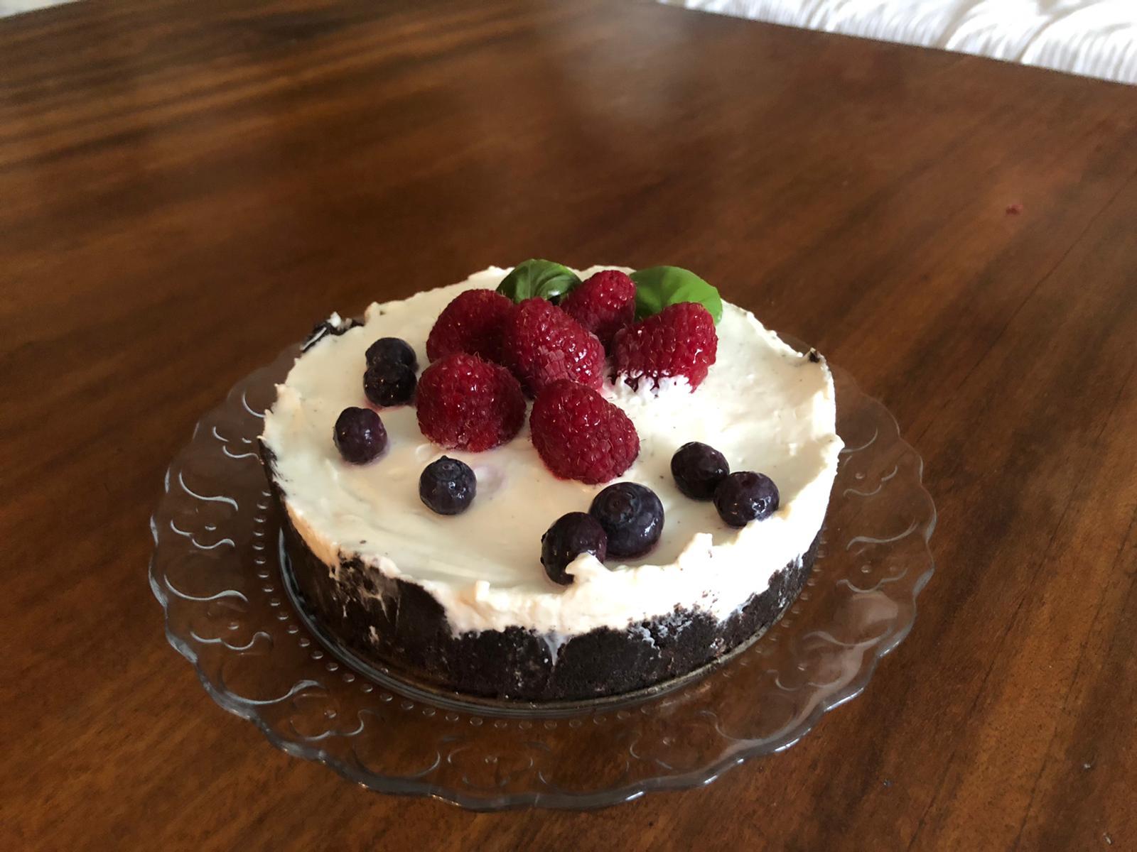 Presentación de la receta de tarte oreo frutas