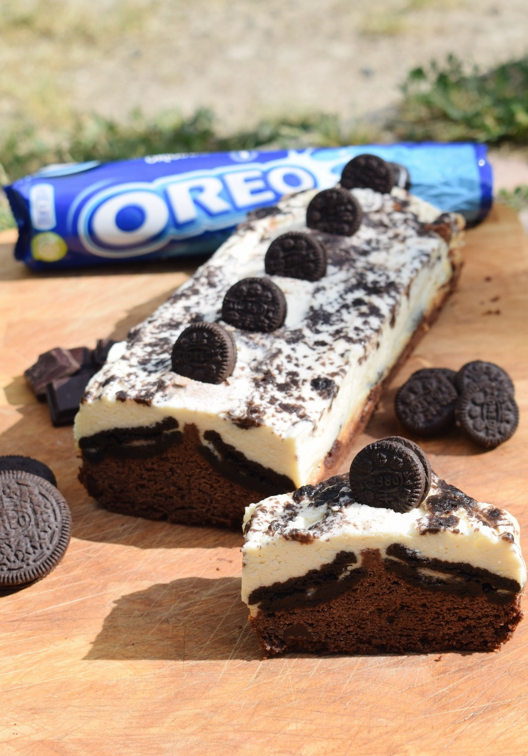 Brownie y cheesecake de oreo