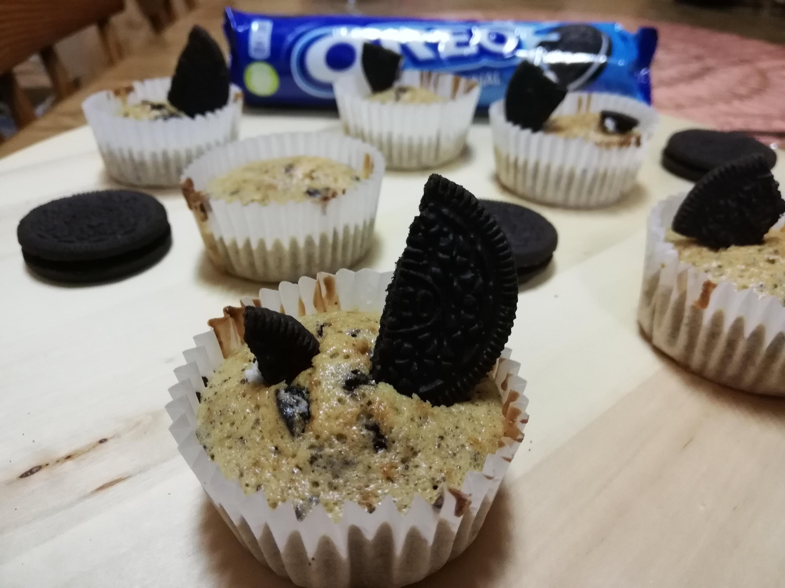 Presentación de la receta de Muffins de oreo y vainilla