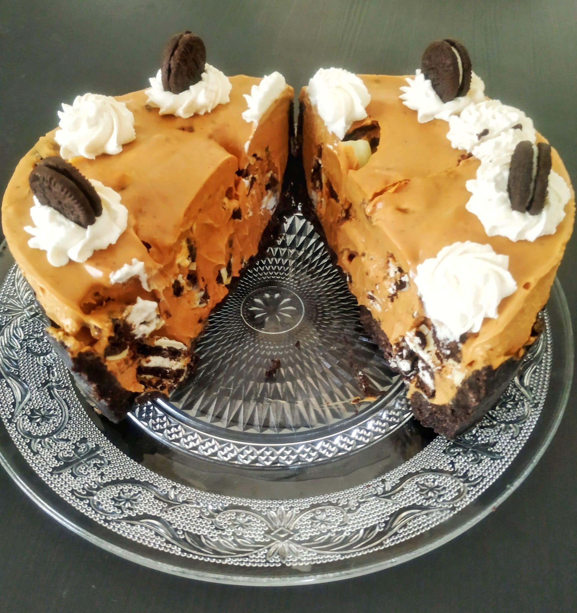 Presentación de la receta de Tarta helada de oreo y dulce de leche