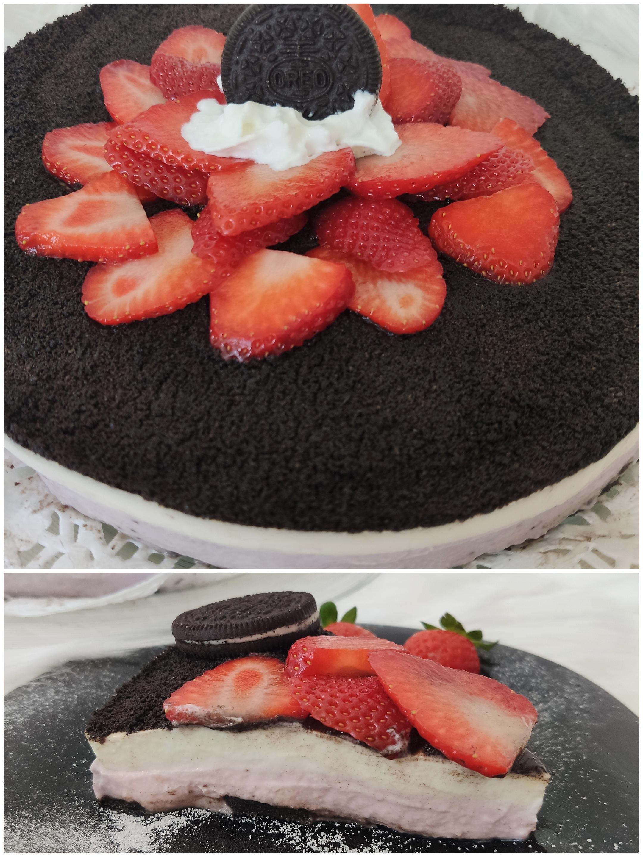 Cheesecake oreo y fresas