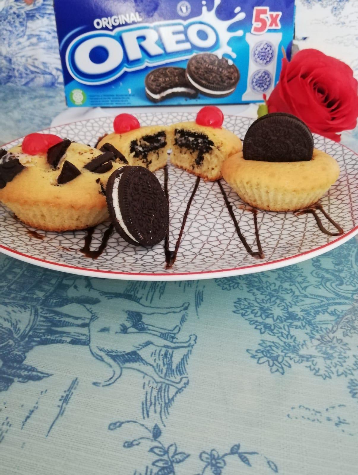 Presentación de la receta de Muffin vainilla y oreo